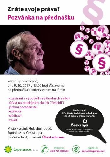 Pozvánka na přednášku na téma právní pomoci ve stáří, Klub důchodců Česká Lípa, 9.10.2017