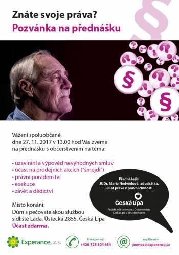 Pozvánka na přednášku na téma právní pomoci ve stáří, Klub důchodců Česká Lípa, 27.11.2017